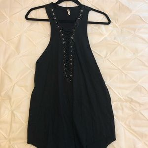 Emma and Sam black lace up tank top